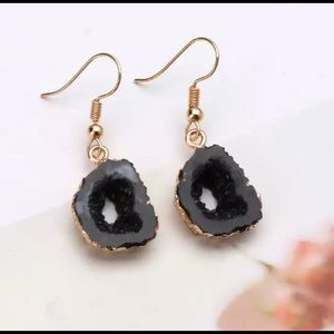 Mystical Black Geode Rock Dangle Earrings